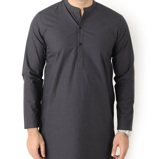Dark Grey Matching Kurta With Black Pyjama Set For Dad And Son