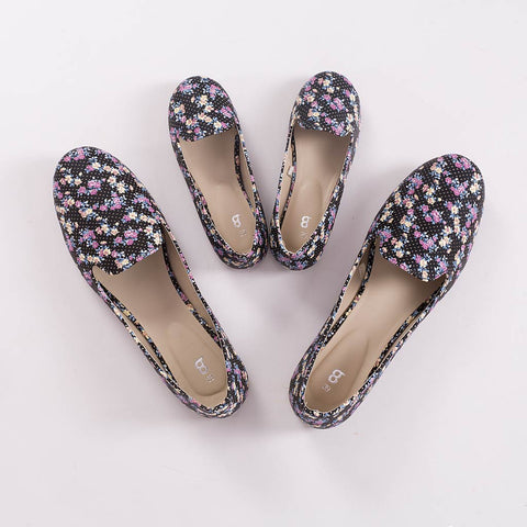 Floral Black Matching Ballerinas For Mother And Daughter