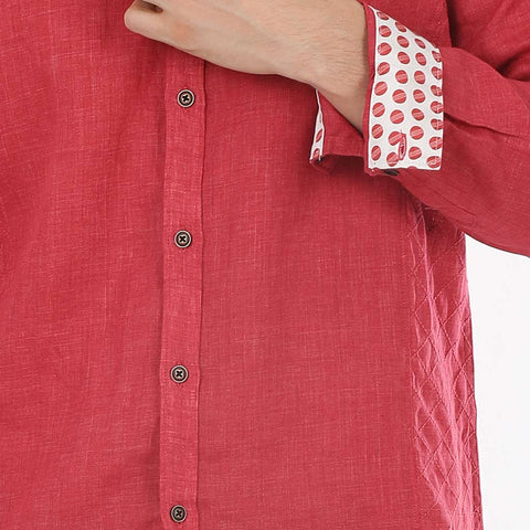 Quilted Mandarin Red Collar Linen Shirt For Father-Son