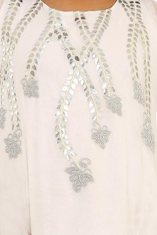 White Embroidered kurta set and resham zardosi work fusion dress