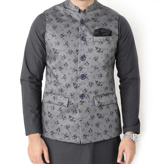 Floral Print Grey Bandi With Matching Kurta And Pyjama Set For Father-son