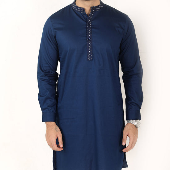 Navy Blue, Matching Kurta And Pyjama Set For Dad And Son
