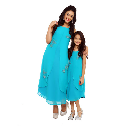 Teal green layered front slit resham and bead work fusion dress