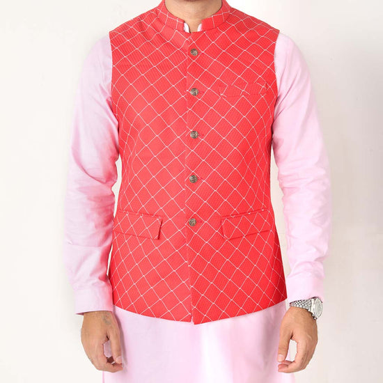 Bright Red Geometric Print Bandi With Matching Kurta And Pyjama Set  For Dad And Son
