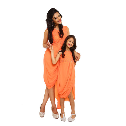Orange Beads and resham work cowl fusion dress