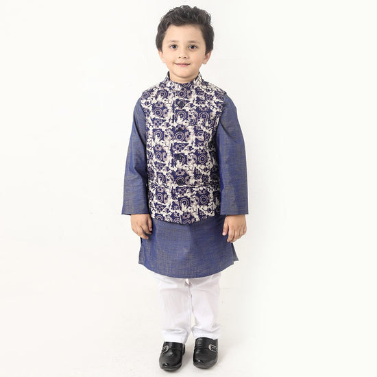 Navy Batik Rose Print Bandi With Kurta And Pyjama Set For Father-son