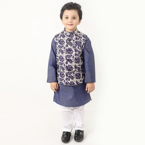 Navy Batik Rose Print Bandi With Kurta And Pyjama Set For Son