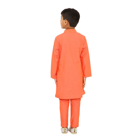Orange resham work kurta set and fusion dress