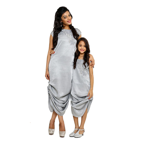 Grey Resham and Zardosi Work Fusion Cowl Dress