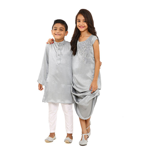 Grey zardosi and resham work kurta set and fusion dress