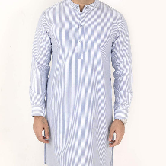 Light Blue Stripped, Matching Kurta With Pyjama Set For Dad And Son