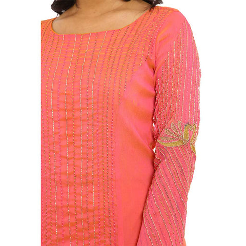pink embroidered high low fusion dress with legging
