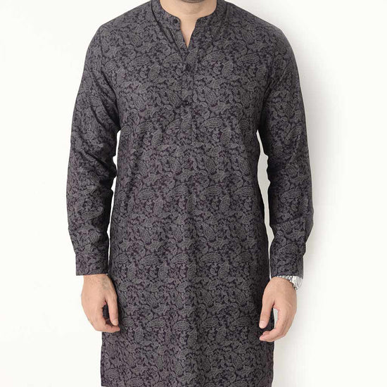 Paisley Print Matching Kurta And Pyjama Set For Dad And Son
