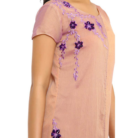 purple flap resham and stone work fusion dress