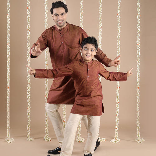 Rust Shimmer Matching Kurta And Pyjama Set For Dad And Son