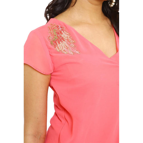 Pink Asymmetric overlap embroidered fusion dress with bottom