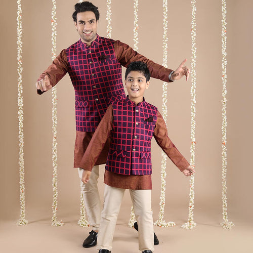 Red Checks Bandi With Matching Kurta And Pyjama Set For Father-son