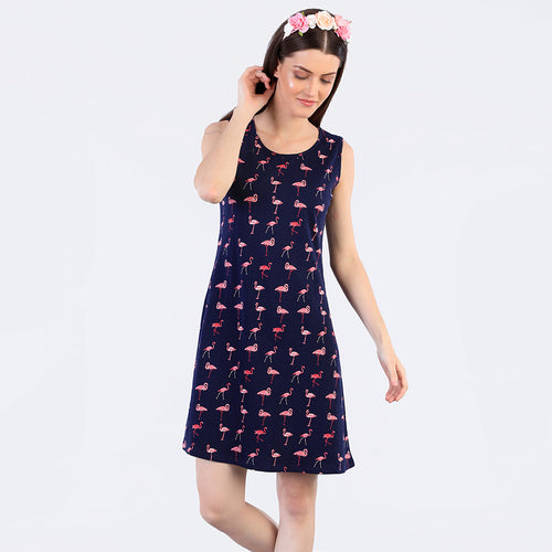 Funky Flamingos Printed Shift Dress For Mom And Daughter