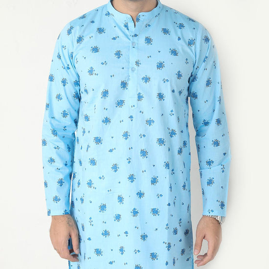 Floral Print Sea Blue Kurta And Pyjama Set For Father-son