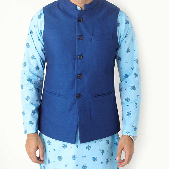 Royal Blue Bandi With Matching Printed Kurta And Pyjama Set For Father-son