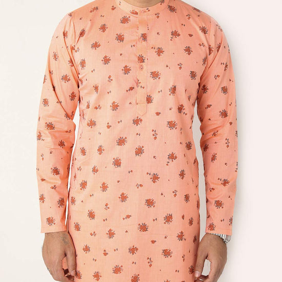 Peach Floral Print Matching Kurta And Pyjama Set For Father-son