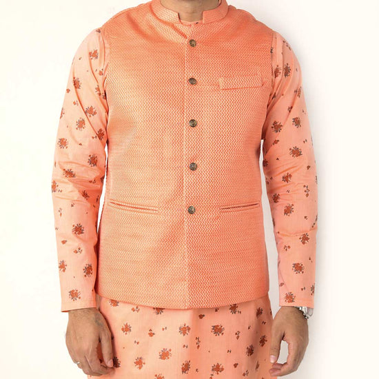 Peach Brocade Bandi With Matching Printed Kurta With Pyjama Set For Father-son