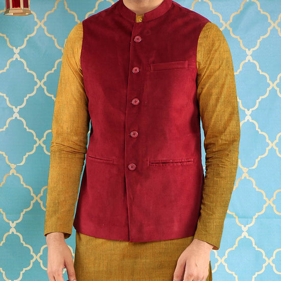 Wine Red Corduroy Bandi With Kurta & Pyjama Set For Father-Son