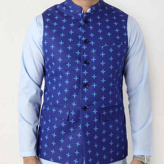 Blue printed bandi with matching kurta and pyjama set For Father-Son
