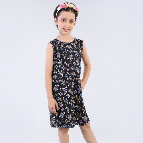 Flower Angels Printed Midi Dress For Daughter