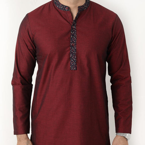 Maroon With Floral Collar Matching Kurta And Pyjama Set For Father-son