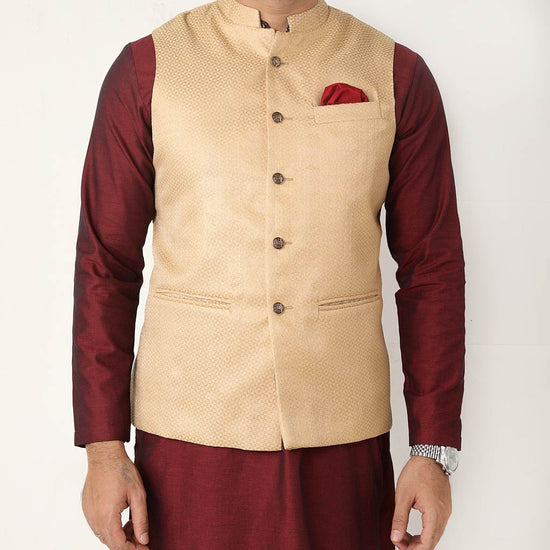 Gold Brocade Bandi With Matching Kurta And Pyjama Set For Father-son