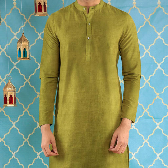 Olive Gold Long Kurta & Pyjama Set For Father-Son