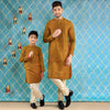 Mustard Kurta With Beige Pyjama Set For Father-Son