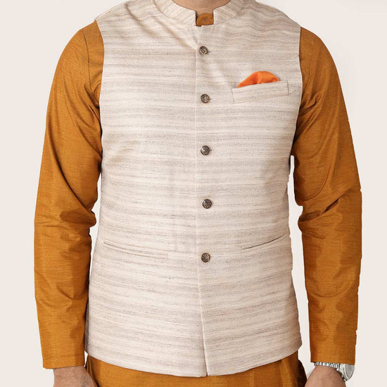 Khadi Silk Textured Bandi With Spun Silk Kurta And Pyjama Set For Father-son