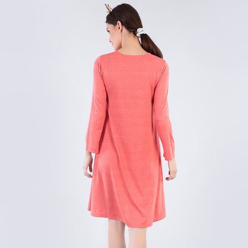 Pearl Embelished Coral Flare Dress For Mom And Daughter