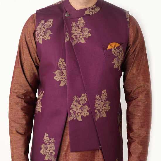 Mauve Floral Asymmetric Bandi With Matching Kurta And Pyjama Set For Dad And Son