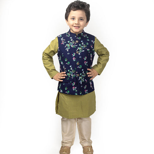 Navy Corduroy Floral Bandi With Matching Kurta And Pyjama Set For Son