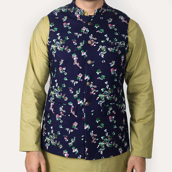 Navy Corduroy Floral Bandi With Matching Kurta And Pyjama Set For Father-Son