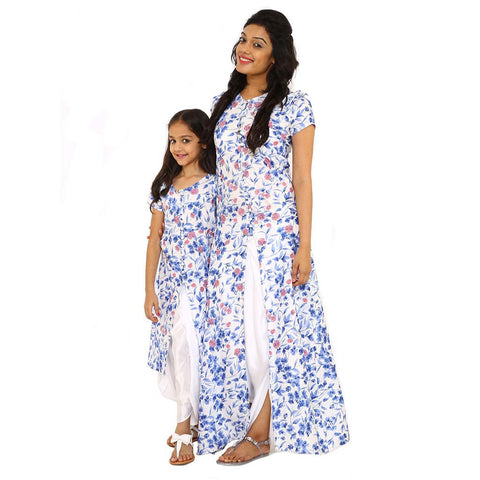 print emroidery fusion front slit dress with dhoti pant