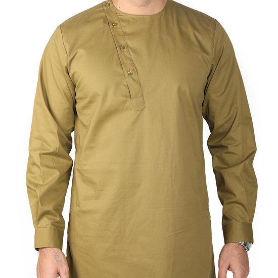 Army Green Asymmetric Placket Kurta And Pyjama Set For Dad And Son