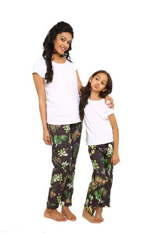 Olive printed Trouser with white Tee
