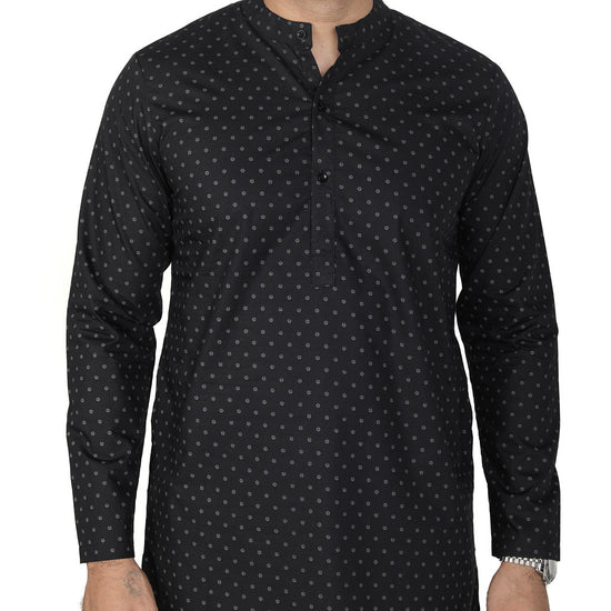 Printed Black Matching Kurta And Pyjama Set For Dad And Son