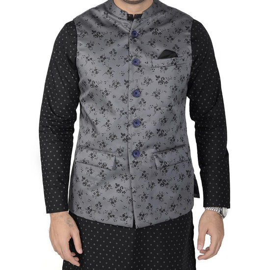 Floral Print Grey Bandi With Printed Kurta And Pyjama Set For Father-Son