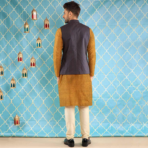 Navy Blue Printed Cotton Bandi With Mustard Kurta & Pyjama Set For Father-Son