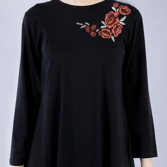 Black Embroidered Matching Flare Dresses For Mom And Daughter