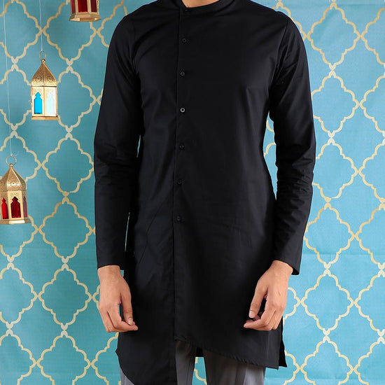 Black Asymmetric Kurta With Grey Pyjama Set For Father-Son