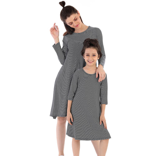 Hypnotic Stripes Flare Dress For Mom And Daughter