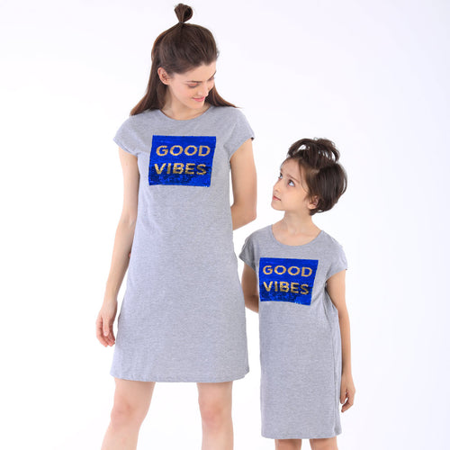 Good Vibes Sequins Shift Dress For Mom And Daughter