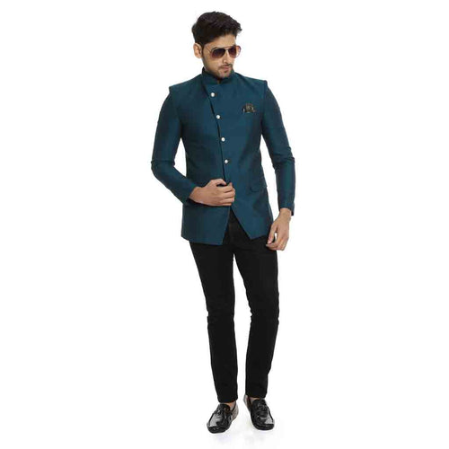 Bottle green overlapped bandhgala jacket for father-son