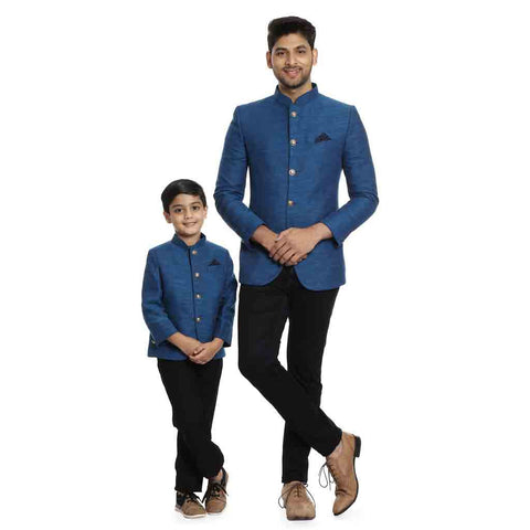 Blue regular fit bandhgala jacket with pocket square for Father-Son